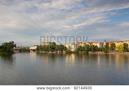 View Of Prague From The Left Bank Of The Vltava River