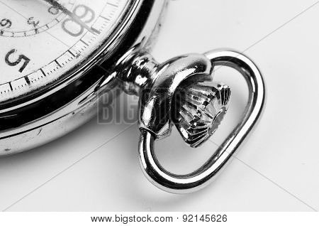 Partial Detailed Look At An Stopwatch In Black And White