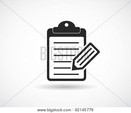 checklist clipboard icon with pencil design