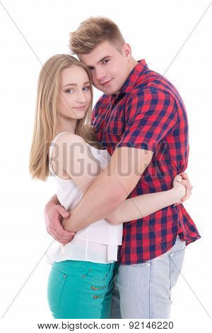 First Love Concept - Young Man And  Woman Isolated On White