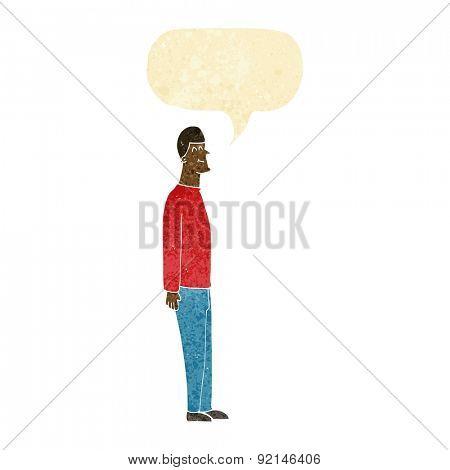 cartoon tall man with speech bubble