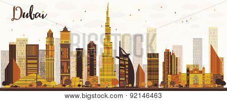 Dubai City skyline with golden skyscrapers