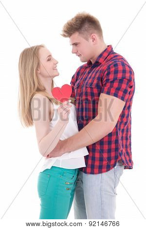 First Love Concept - Young Man And Woman Holding Heart Isolated On White
