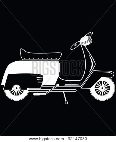 Vintage Scooter Type 1 In Black And White On Black Background