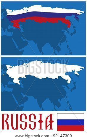 Map And Flag Of Russia
