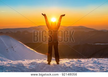 Woman On The Top Of Winter Mountain