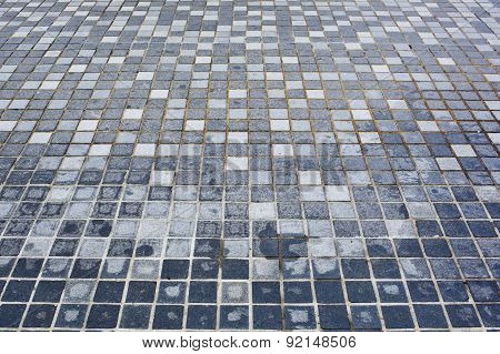Background Of Little Irregular Blue Tiles.