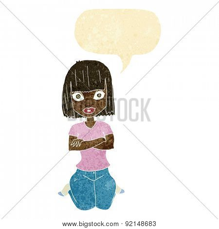 cartoon woman kneeling with speech bubble