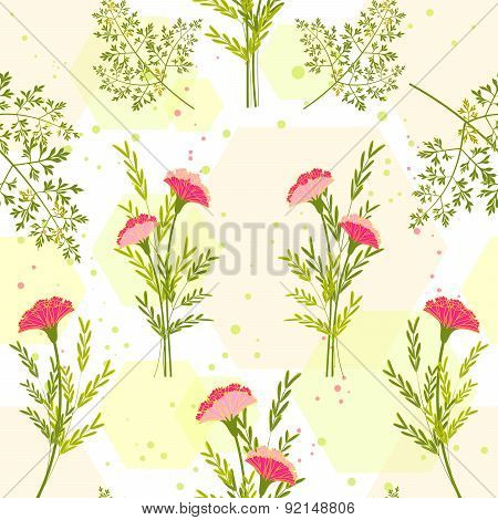 Springtime Colorful Flower With Herb Background