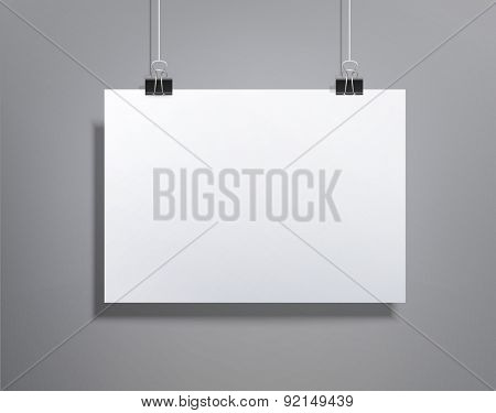 background with a piece of paper hanging on the wall (element for design, template , horizontal)