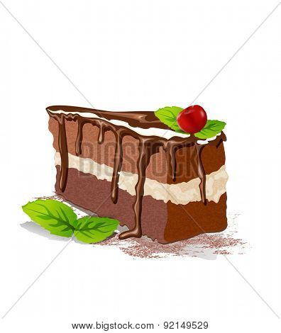 piece of cake with cream and cherry on a white background