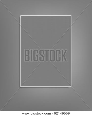 background with a gray sheet of paper hanging on a gray wall (element for design,template)