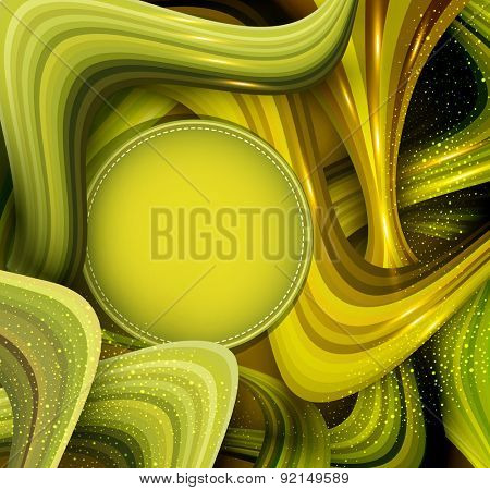 abstract background with green waves and place for your text