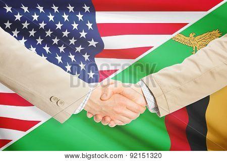 Businessmen Handshake - United States And Zambia