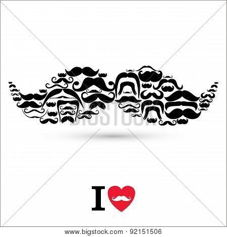 Stock Vector Illustration:moustaches Set. Design Elements.