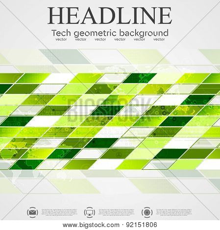 Abstract vector tech geometric background. Green color design