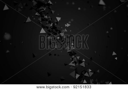 Abstract 3D Rendering of Flying Pyramids.