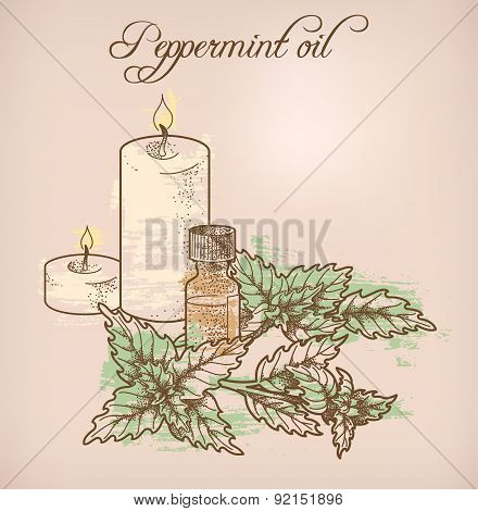 Peppermint essential oil and candles