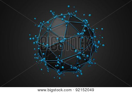 Low Poly Black Sphere with Chaotic Structure.