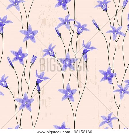 Seamless background with bellflowers