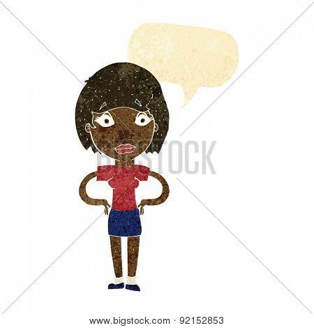 cartoon worried woman with speech bubble