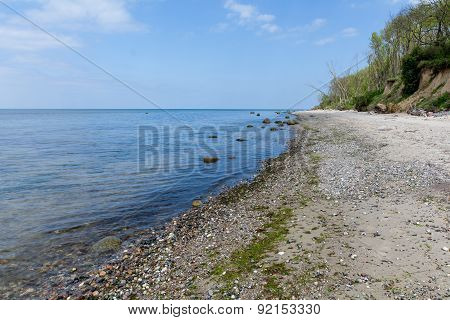 Stony Beach And Steep Coast On The Baltic Sea
