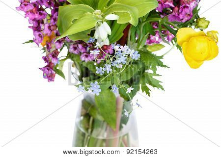 Bunch Of Wild Flowers In Glass Vase