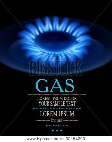 vector background with blue burning gas gas stove