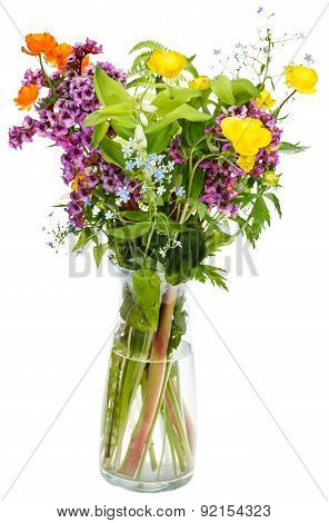 Summer Garden Flowers In Glass Vase