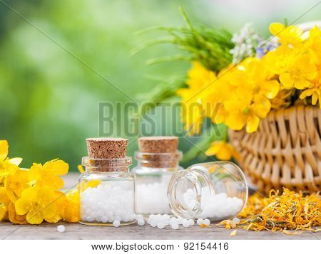 Bottles Of Homeopathy Globules And Healthy Herbs In Basket.