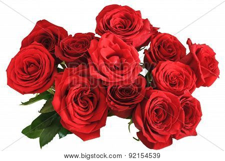 Above View Bouquet Of Red Roses Isolated