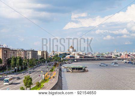 Frunzenskaya Embankment In Moscow, Russia