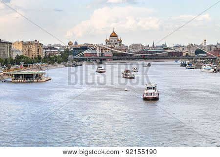 Excursion Boats Near Krymsky Bridge, Moscow