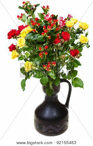 Bouquet Of Yellow, Red Roses And Hypericum Flowers