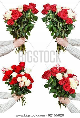 Set Of Bunches Of Many Rose Flowers In Male Hands
