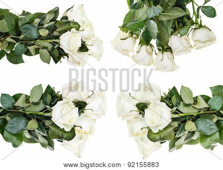 Set Of White Rose Bouquets Isolated