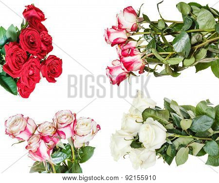 Set Of Various Rose Bunches Of Flowers Isolated