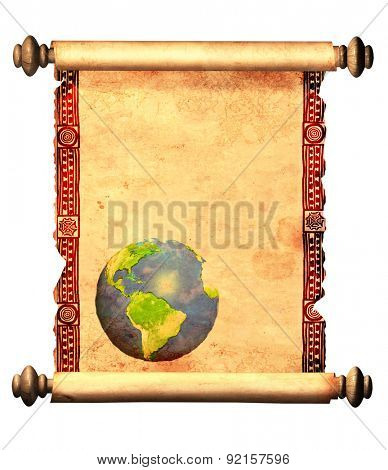 Scroll of old parchment with decorative ornament and with printed abstract world map. Object isolated on white background