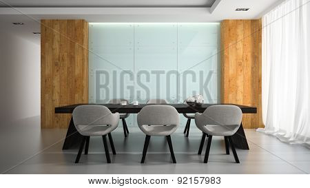 Modern interior of meeting room 3D rendering