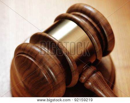 judge gavel on wooden background.Close up