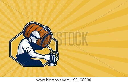 Business Card Bartender Worker Pouring Beer From Barrel To Mug
