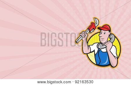 Business Card Plumber Worker With Adjustable Wrench Phone
