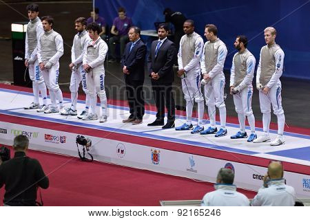 ST. PETERSBURG, RUSSIA - MAY 3, 2015: Teams Italy and France before the match for 3rd place of International fencing tournament St. Petersburg Foil. The tournament is the stage of FIE World Cup