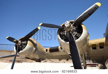 TITUSVILLE - MACRH 12: World War II era bomber wing and propellers await inspection prior to flight in Titusville, FL on march 12, 2014