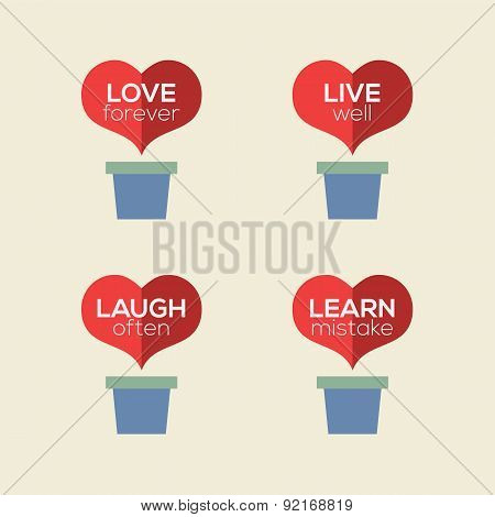 Love Live Laugh Learn Heart Plants.