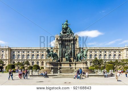 Maria Theresia Monument In Front Of The Kunsthistorisches Museum In Vienna