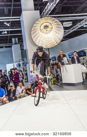 Bmx World Champion Takahiro Ikeda Performs Stunts At  Photokina In Cologne