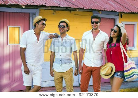 Group of young people traveling in latin-america. Isla Mujeres, Mexico.