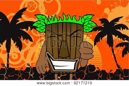 tiki hawaiian mask cartoon summer
