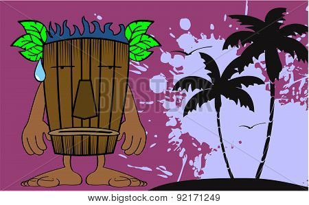 tiki mask cartoon summer background